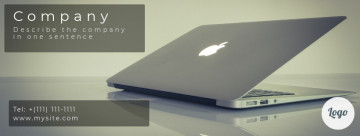 Business, IT Facebook cover, computer Macbook on the table, size 820 x 312 px