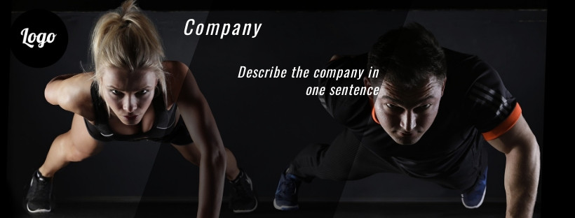 Fitness Facebook cover on the black background, image dimensions 820x312 px