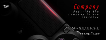 Gaming Facebook cover, on the black backgound, image size 820x312 px