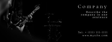 Guitar Facebook cover, on the black background, image size 820x312 px