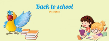 Back to school Facebook cover, children are reading books, image size 820x312 px