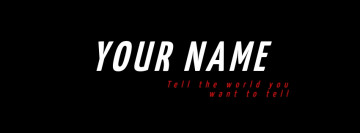 My name Facebook cover, black background. image size 820x312