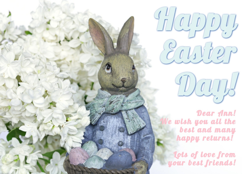Happy Easter Day greeting card sample, colored eggs, with a rabbit