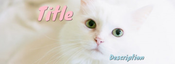 White cat Facebook cover template, image size 851x315 px