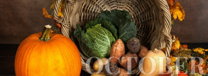 October Facebook cover template, autumn vegetables on the table