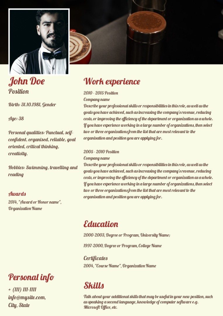 Barista resume, cv sample, template