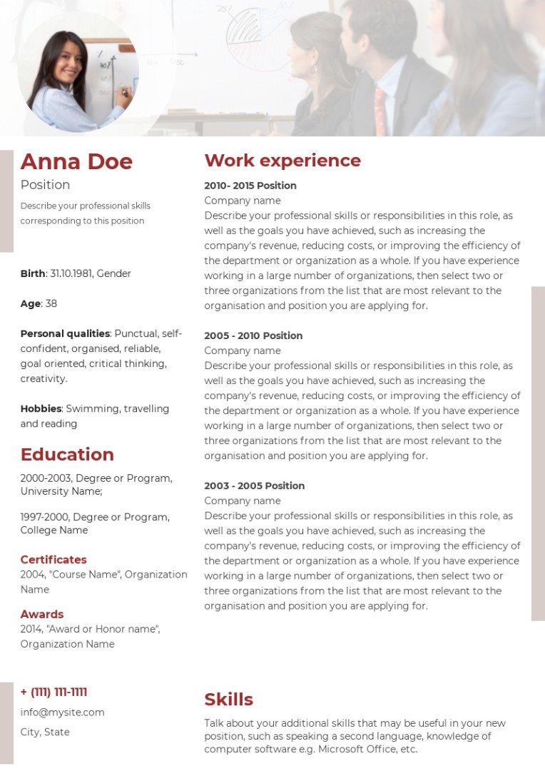 Consulting, coaching resume, cv sample, template