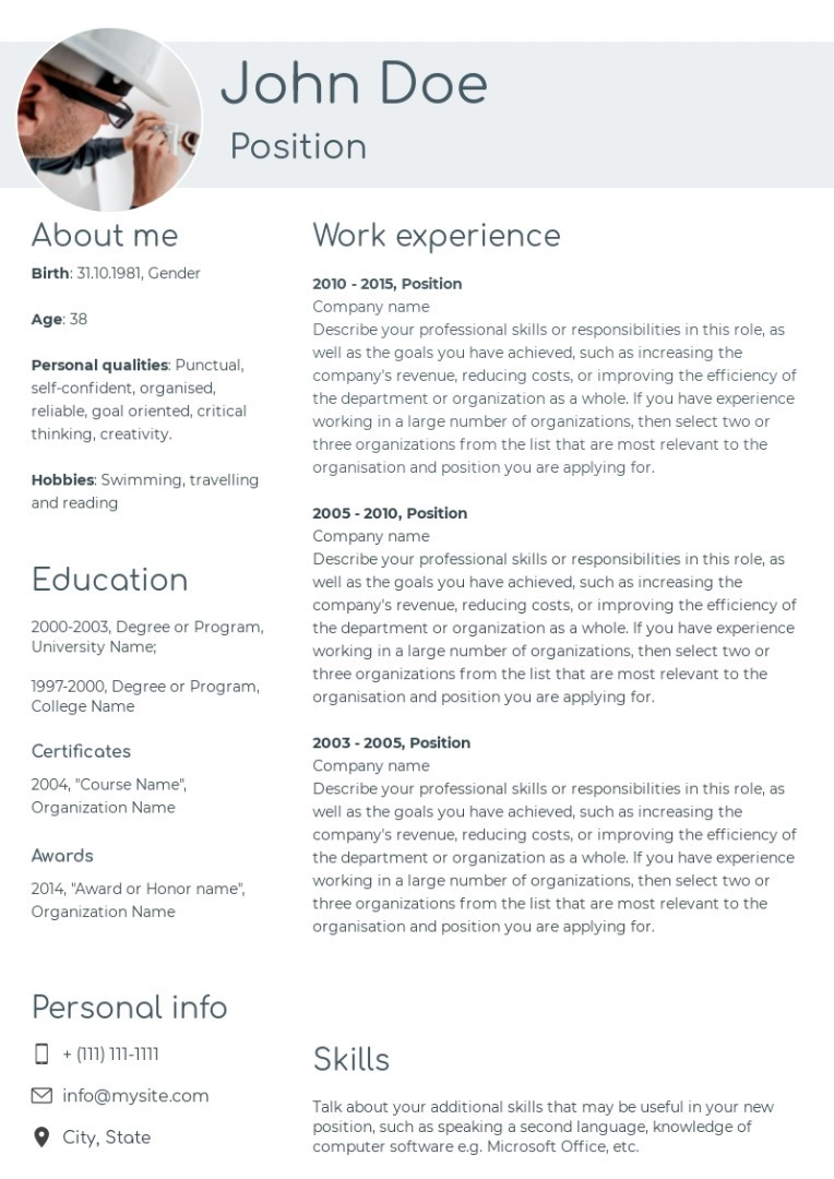 Electrical engineer resume, cv sample, template