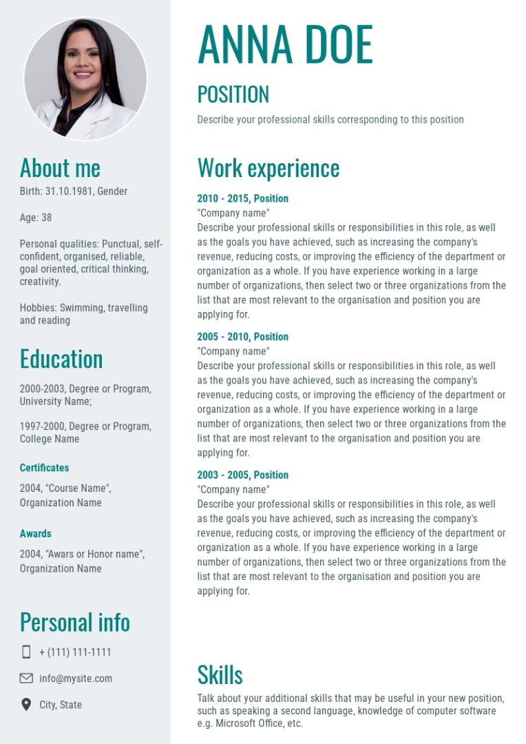 Nursing resume, cv sample, template