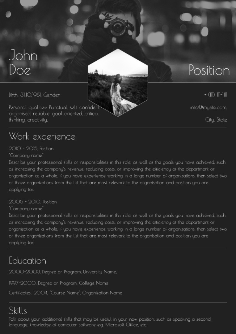 Photographer resume, cv sample, example