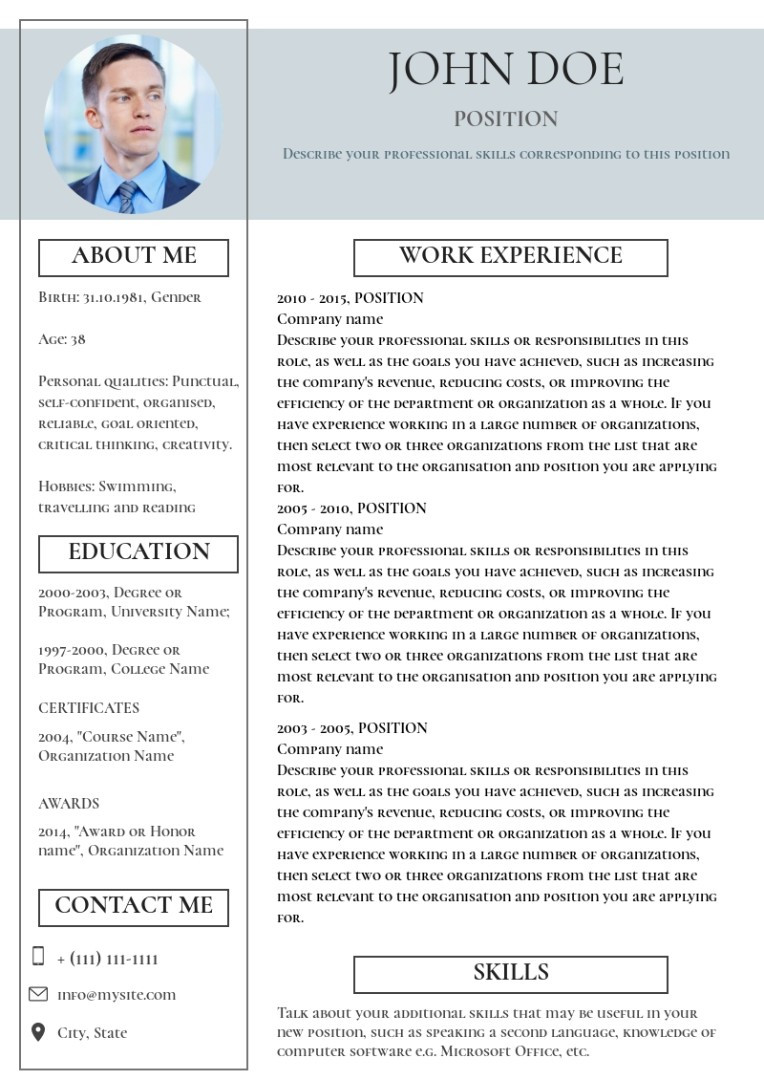 Project manager resume, cv sample, template