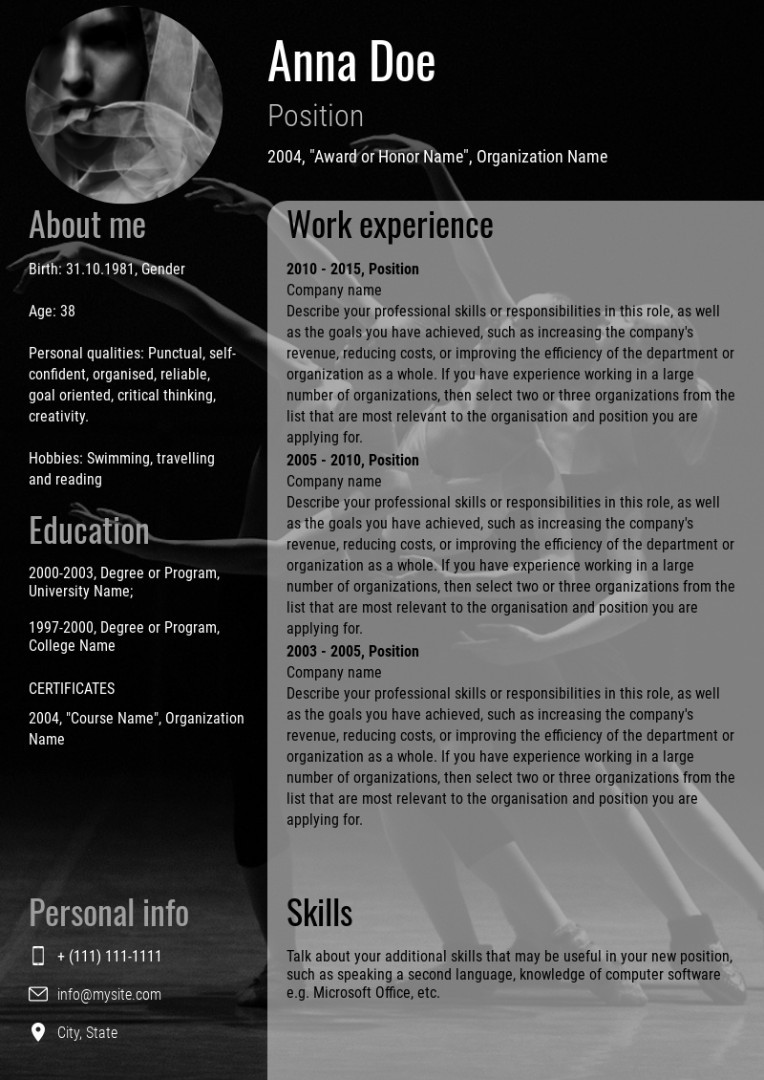 Theatre artist resume, cv sample, template