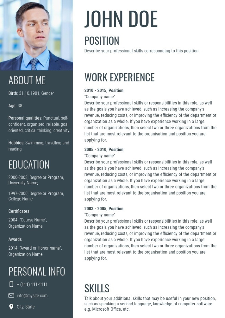 Business resume template, layout