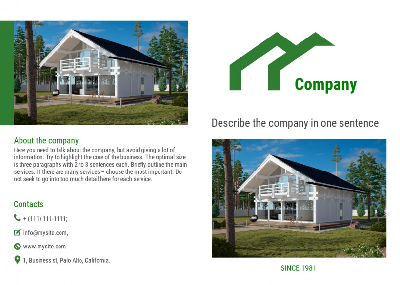Construction company bi-fold brochure sample