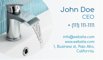 Plumbing services business card sample