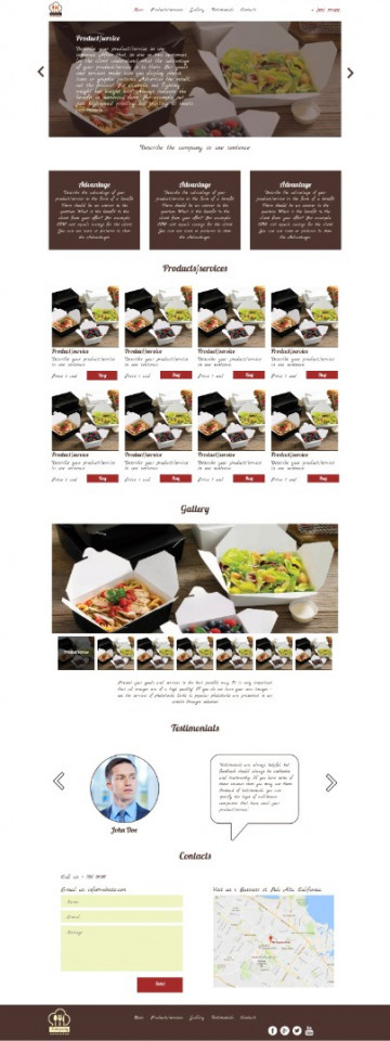 Catering service landing page sample