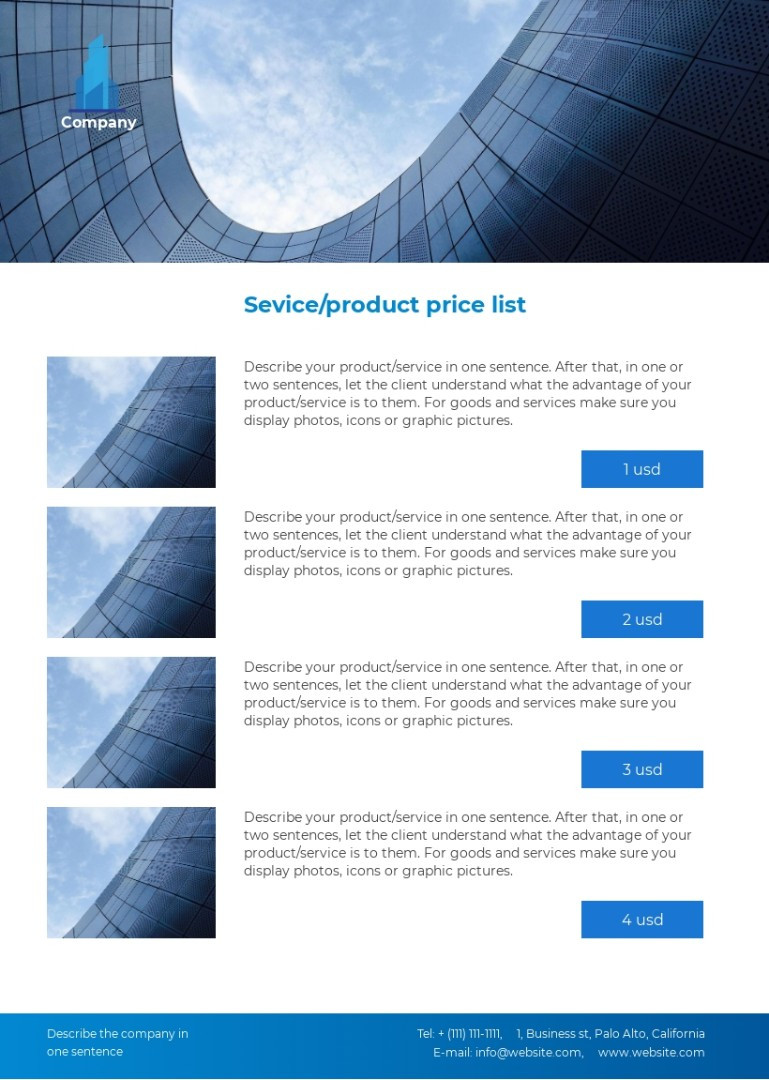 Company product service price list template