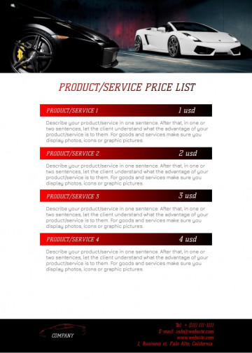 Car dealership price list sample