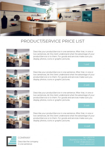Kitchen equipment price list sample