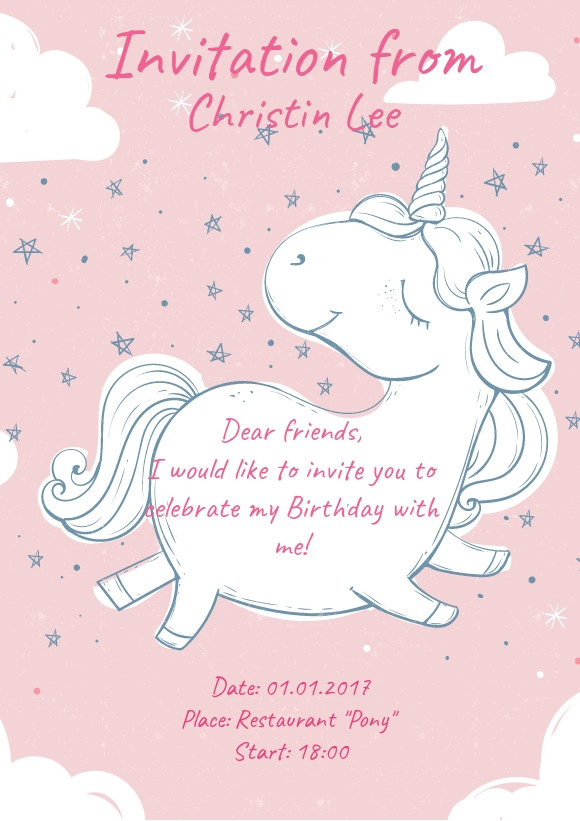 A girl birthday invitation sample