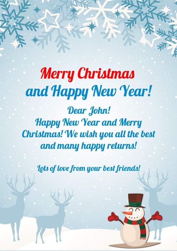 Merry Christmas and Happy New Year greeting card sample