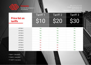 Tariffs quote sheet sample