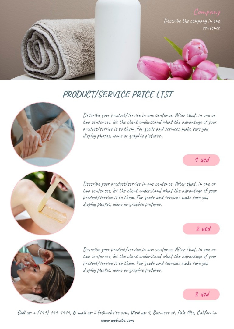 Beauty and spa price list sample