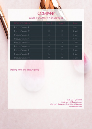 Beauty salon price list sample