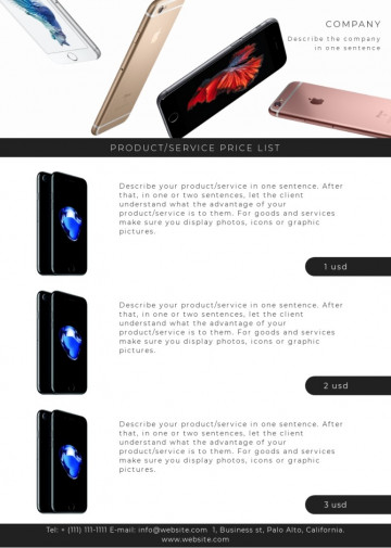 Gadgets price list sample