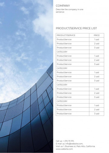 Price list template - G