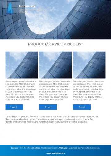 Price list template - J