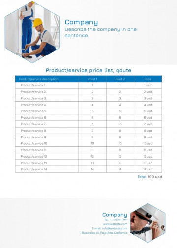 Electrical quote, price list sample