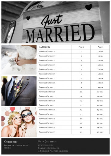Wedding photographer price list sample