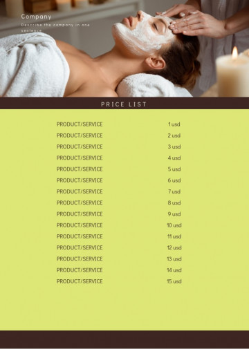 Beauty treatment, cosmetologist price list sample