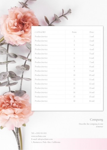 Wedding photography price list, quote sample