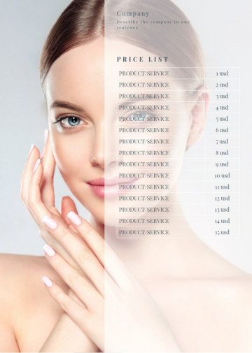 Beauty treatment, cosmetology price list sample