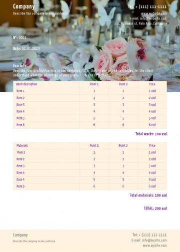 Catering services price list, quote sample