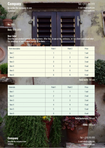 Landscaping, gardening price list, quote sample