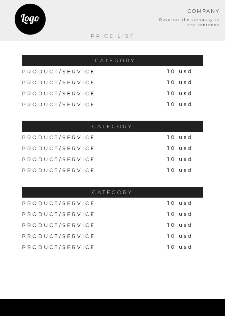 Beauty treatment price list sample