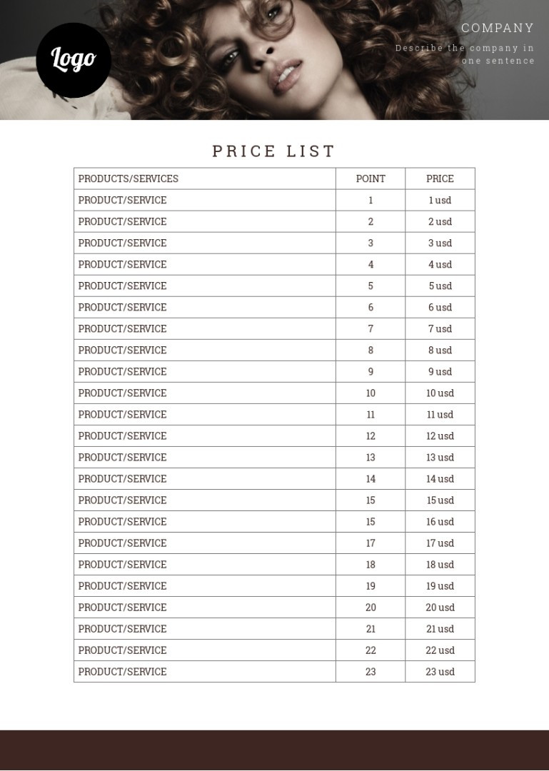 Beauty treatment, hairdressing price list sample