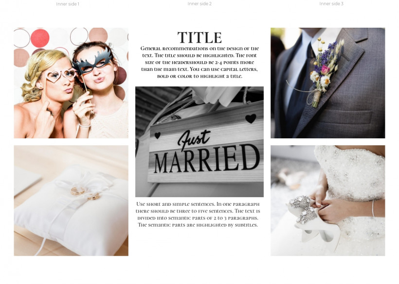 Wedding photographer tri-fold brochure sample