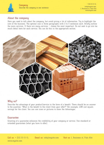 Building materials proposal sample