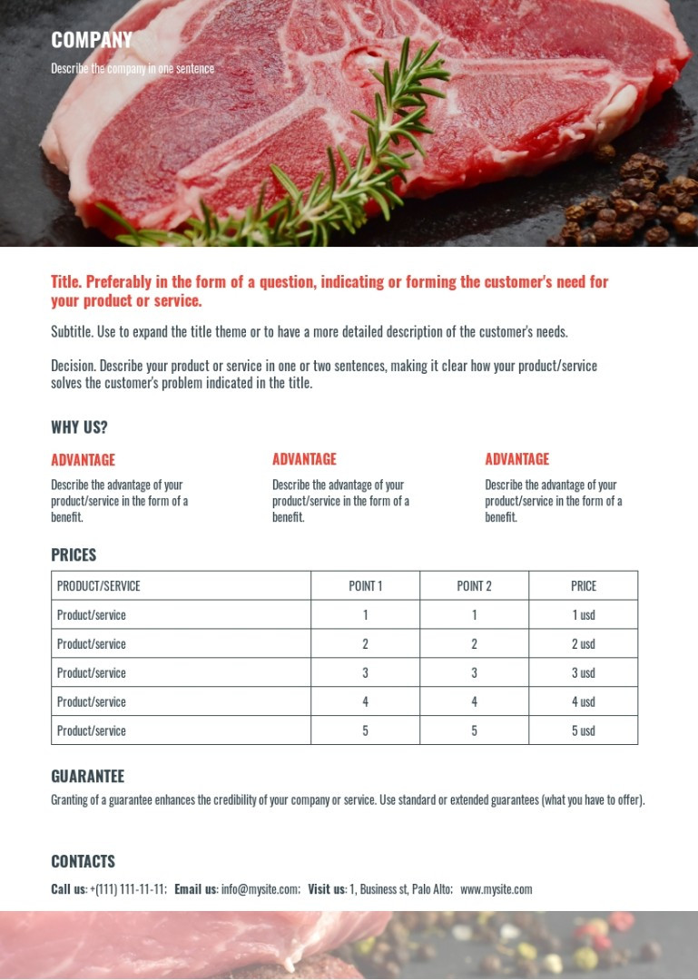 Meat supply proposal sample