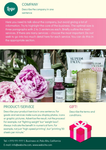 Cosmetics promotion leaflet sample