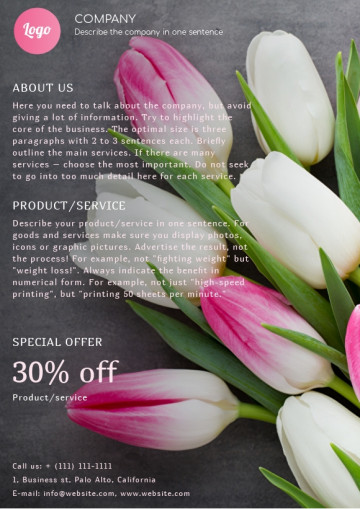Flower shop leaflet sample