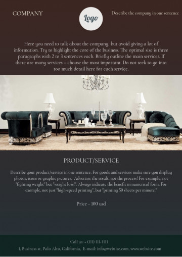 Furniture shop leaflet sample