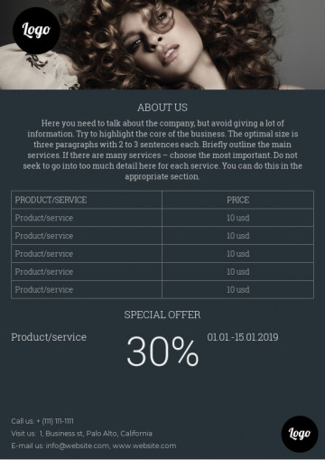 Beauty salon price leaflet sample
