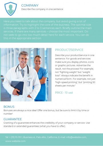 Medical and health care leaflet sample