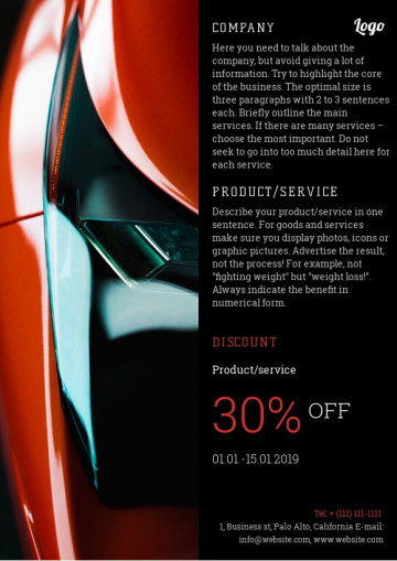 Auto, car repair services leaflet sample