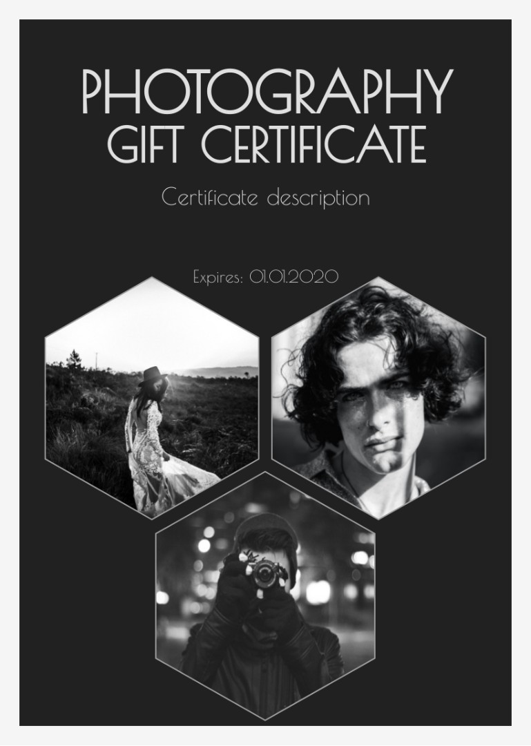 Photography certificate sample